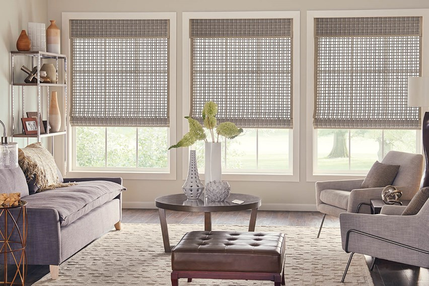 Bali Standard Roman Natural Shades with AutoView Motorized Lift and privacy liner