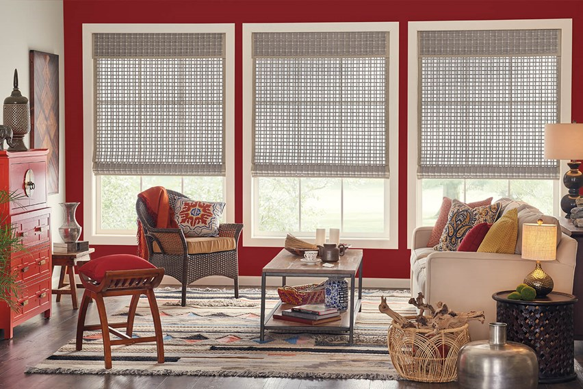 Bali Natural Shades with AutoView motorized lift, edge banding and a standard valance