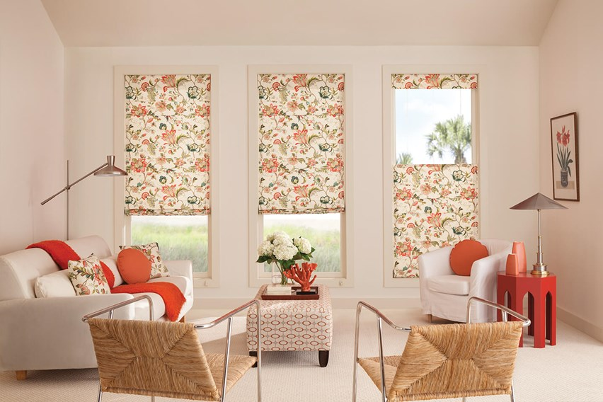 Floral Pattern Bali Tailored Roman Shades are hand-crafted and stylish in this room