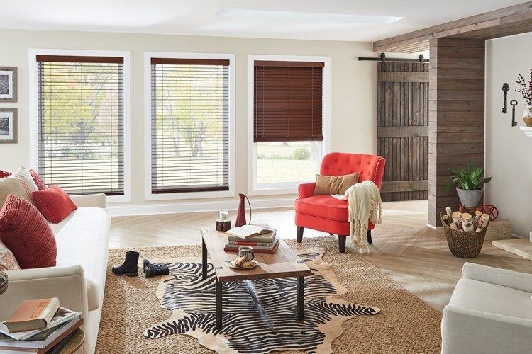 "2"" Wood Blinds with Cordless Lift/Wand Tilt: Teriyaki 1694 with 3"" Standard Valance"