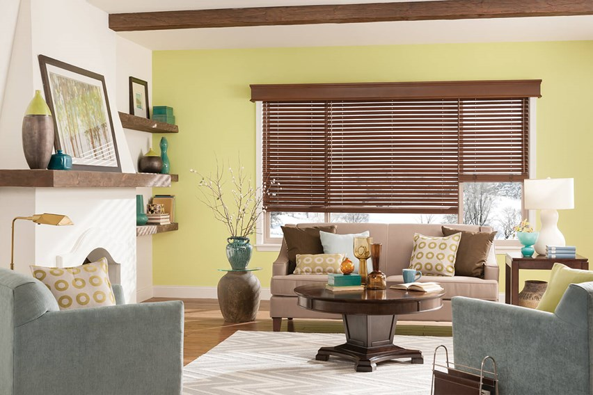 Bali Wood Cornices create a seamless look over coordinating 2 inch Bali Wood Blinds
