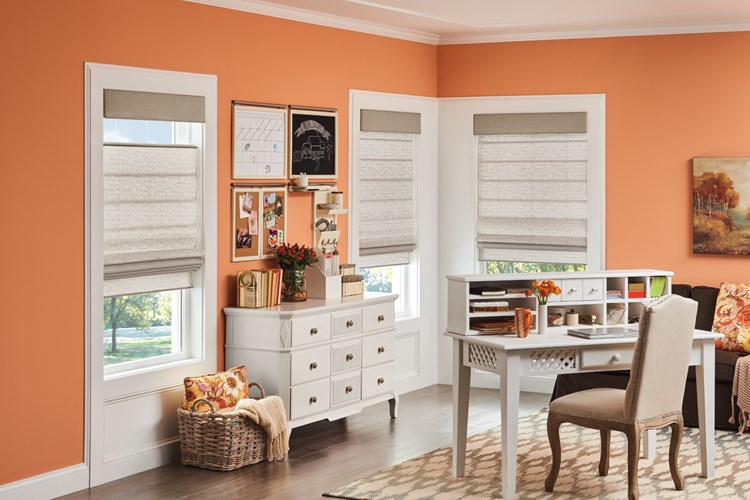 Classic Roman Shades in Flat Style with Bottom Up/Top Down Cordless Lift: Kersey, Mushroom 3590; Straight Fabric Wrapped Cornices: Gibson, Kodiak 5202
